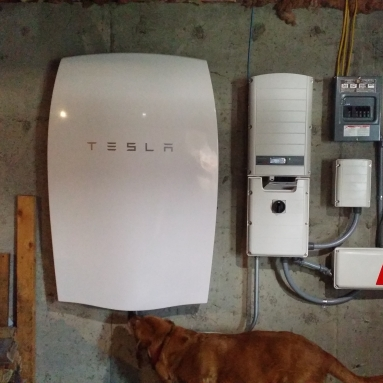 An example of an in-home PowerWall battery to store renewable energy. Image courtesy of Bryan Alexander.