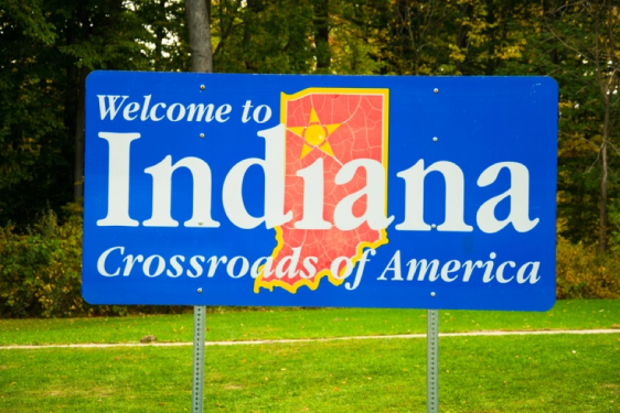 """A sign that reads """"Welcome to Indiana, Crossroads of America"""""""